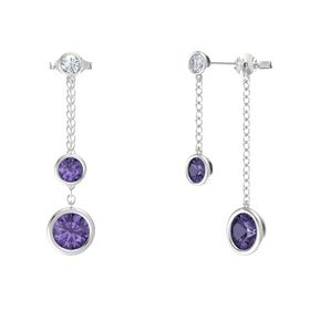 Round Iolite Sterling Silver Earrings with Iolite & Diamond