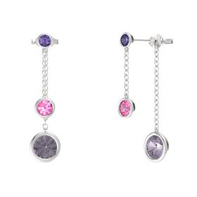 Round Pink Tourmaline Sterling Silver Earring with Rose de France and Iolite