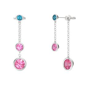 Round Pink Tourmaline Sterling Silver Earring with Pink Tourmaline and London Blue Topaz