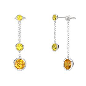 Round Yellow Sapphire Sterling Silver Earrings with Citrine & Yellow Sapphire