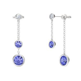 Round Tanzanite Sterling Silver Earrings with Tanzanite & Diamond