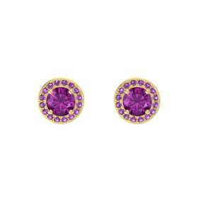 Round Rhodolite Garnet 14K Yellow Gold Earring with Amethyst
