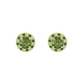 Round Green Tourmaline 14K Yellow Gold Earring with Emerald and Diamond