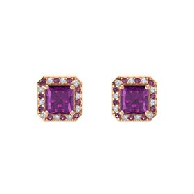 Princess Rhodolite Garnet 14K Rose Gold Earring with Rhodolite Garnet and Diamond