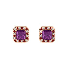 Princess Rhodolite Garnet 14K Rose Gold Earring with White Sapphire and Ruby