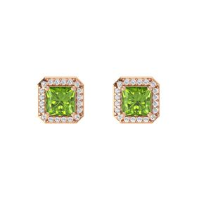 Princess Peridot 14K Rose Gold Earring with White Sapphire