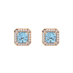 Princess Aquamarine 14K Rose Gold Earring with Diamond