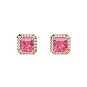 Princess Pink Tourmaline 14K Rose Gold Earring with Diamond