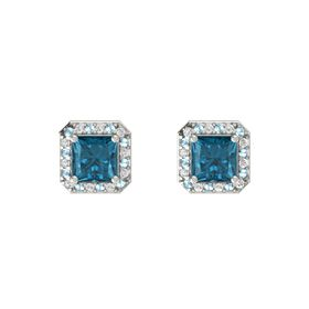 Princess London Blue Topaz 14K White Gold Earring with Aquamarine and White Sapphire