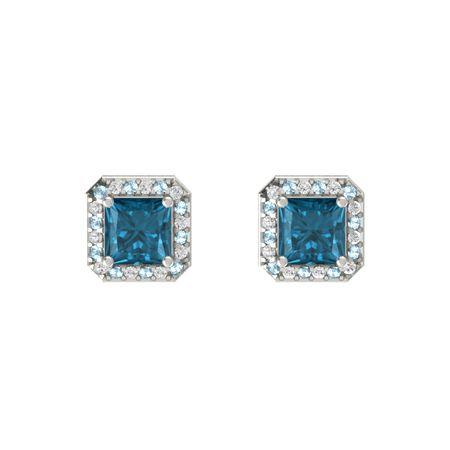 a4c6910c3a2d Princess London Blue Topaz 14K White Gold Earring with Aquamarine ...