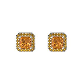 Princess Citrine 14K White Gold Earring with Citrine
