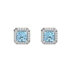 Princess Aquamarine 14K White Gold Earring with Diamond