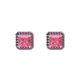 Princess Pink Tourmaline 14K White Gold Earring with Rhodolite Garnet