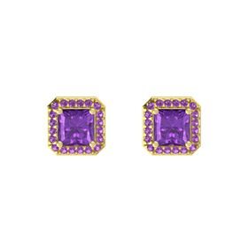 Princess Amethyst 14K Yellow Gold Earring with Amethyst