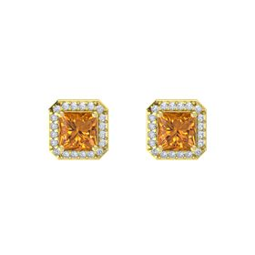 Princess Citrine 14K Yellow Gold Earring with Diamond