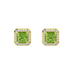 Princess Peridot 14K Yellow Gold Earring with Diamond