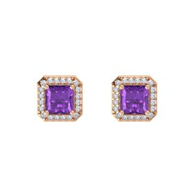 Princess Amethyst 18K Rose Gold Earring with Diamond