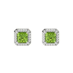 Princess Peridot 18K White Gold Earring with White Sapphire