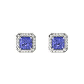 Princess Tanzanite 18K White Gold Earring with White Sapphire