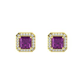 Princess Rhodolite Garnet 18K Yellow Gold Earring with Diamond