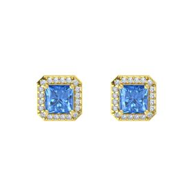 Princess Blue Topaz 18K Yellow Gold Earring with Diamond