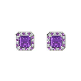 Princess Amethyst Platinum Earring with Amethyst and Diamond