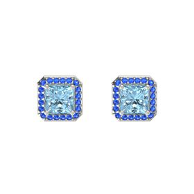 Princess Aquamarine Platinum Earring with Blue Sapphire