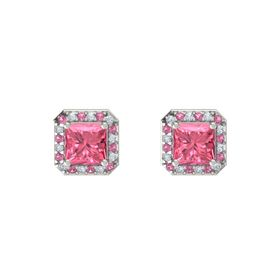 Princess Pink Tourmaline Platinum Earring with Pink Tourmaline and Diamond