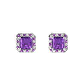 Princess Amethyst Sterling Silver Earring with Amethyst and White Sapphire