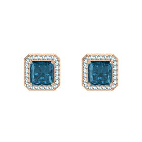 Princess London Blue Topaz 14K Rose Gold Earring with Aquamarine