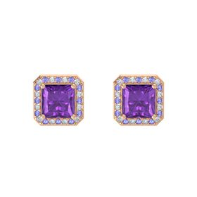 Princess Amethyst 14K Rose Gold Earring with Diamond and Tanzanite
