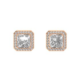 Princess Rock Crystal 14K Rose Gold Earring with Rock Crystal