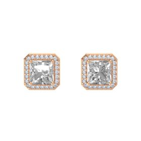 Princess Rock Crystal 14K Rose Gold Earring with Diamond