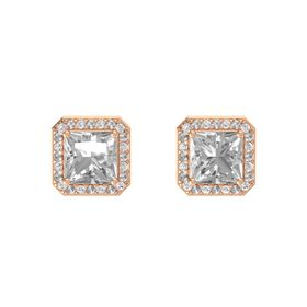 Princess Rock Crystal 14K Rose Gold Earring with White Sapphire and Rock Crystal