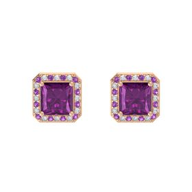 Princess Rhodolite Garnet 14K Rose Gold Earring with Amethyst and Diamond