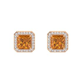 Princess Citrine 14K Rose Gold Earring with White Sapphire and Diamond