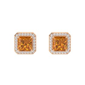 Princess Citrine 14K Rose Gold Earring with White Sapphire