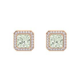 Princess Green Amethyst 14K Rose Gold Earring with Diamond