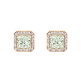 Princess Green Amethyst 14K Rose Gold Earring with White Sapphire and Diamond
