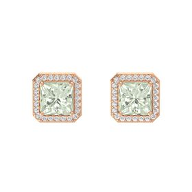Princess Green Amethyst 14K Rose Gold Earring with White Sapphire