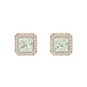 Princess Green Amethyst 14K Rose Gold Earring with White Sapphire and Aquamarine