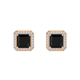 Princess Black Onyx 14K Rose Gold Earring with Diamond