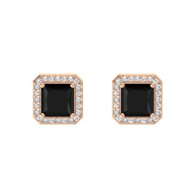 Princess Black Onyx 14K Rose Gold Earring with White Sapphire and Diamond