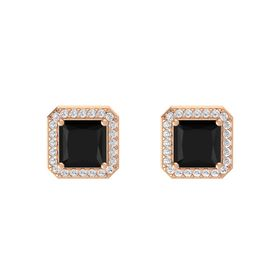 Princess Black Onyx 14K Rose Gold Earrings with White Sapphire