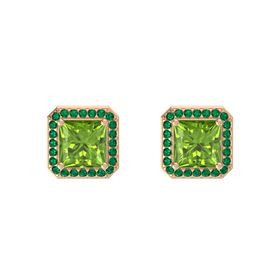 Princess Peridot 14K Rose Gold Earring with Emerald