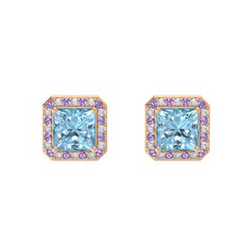 Princess Aquamarine 14K Rose Gold Earring with Iolite and Diamond