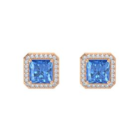 Princess Blue Topaz 14K Rose Gold Earring with Diamond