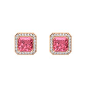 Princess Pink Tourmaline 14K Rose Gold Earrings with Diamond