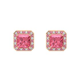 Princess Pink Tourmaline 14K Rose Gold Earring with Diamond and Pink Tourmaline