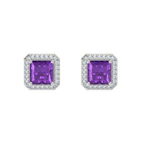 Princess Amethyst 14K White Gold Earrings with Diamond